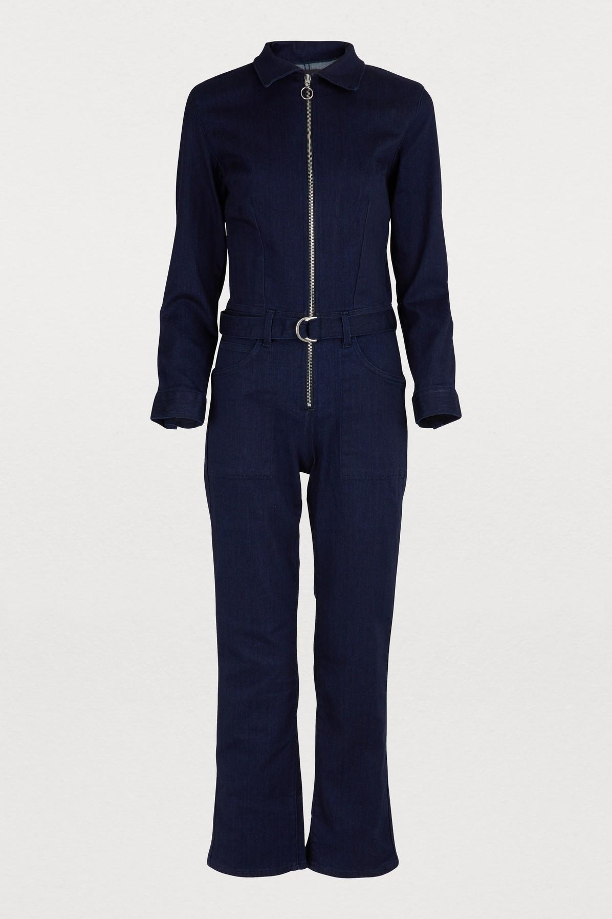 Valen Zip-Front Belted Denim Jumpsuit in Alda