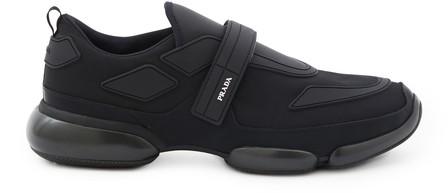 Prada 'Cloudbust' Textile Hook-And-Loop Strap Panelled Sneakers In Black