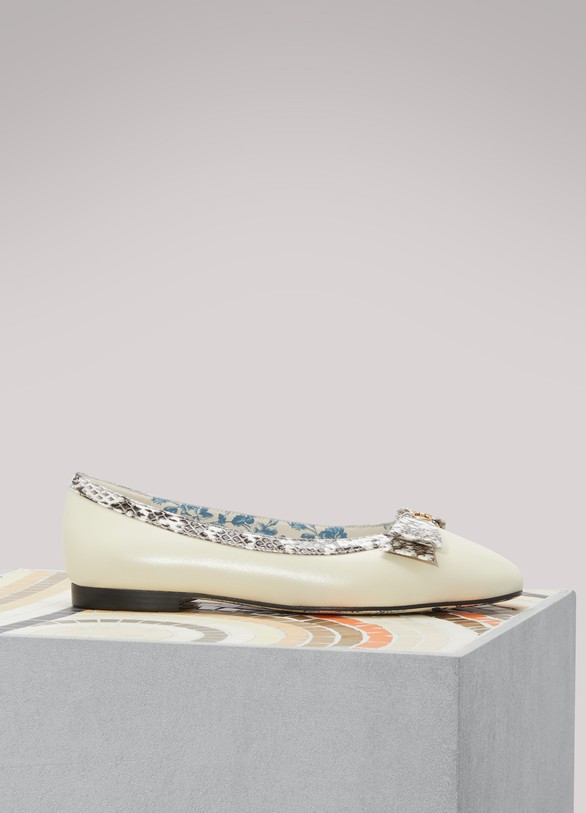 GucciLeather ballet flats with snakeskin bow