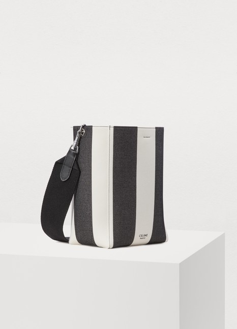 CelineSangle small bucket bag in large striped textile