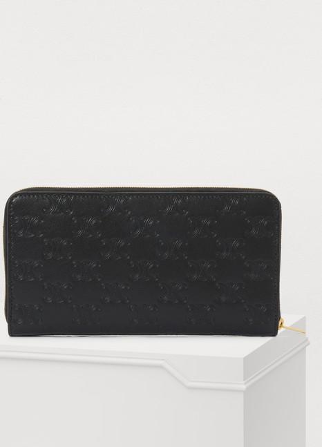 CELINELarge zipped wallet in embossed calfskin