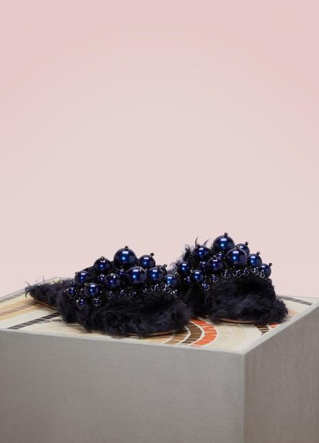 Miu MiuMules en mohair ornés de perles