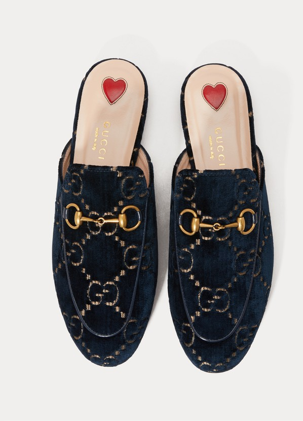 f5a5906bc ... Gucci Princetown GG velvet slippers ...