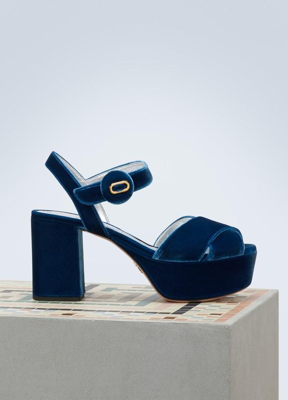 Sandales à plateforme en veloursPrada M6TgH