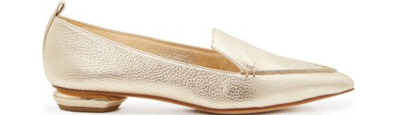 Nicholas Kirkwood 'Beya' Metallic Heel Leather Skimmer Loafers In Platino
