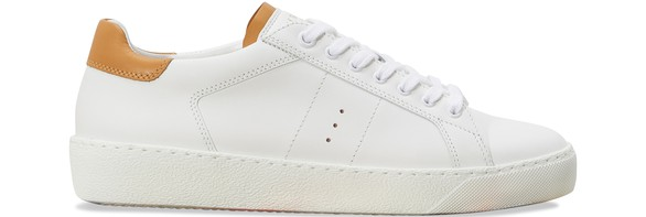JM WESTON White and camel smooth calfskin sneakers