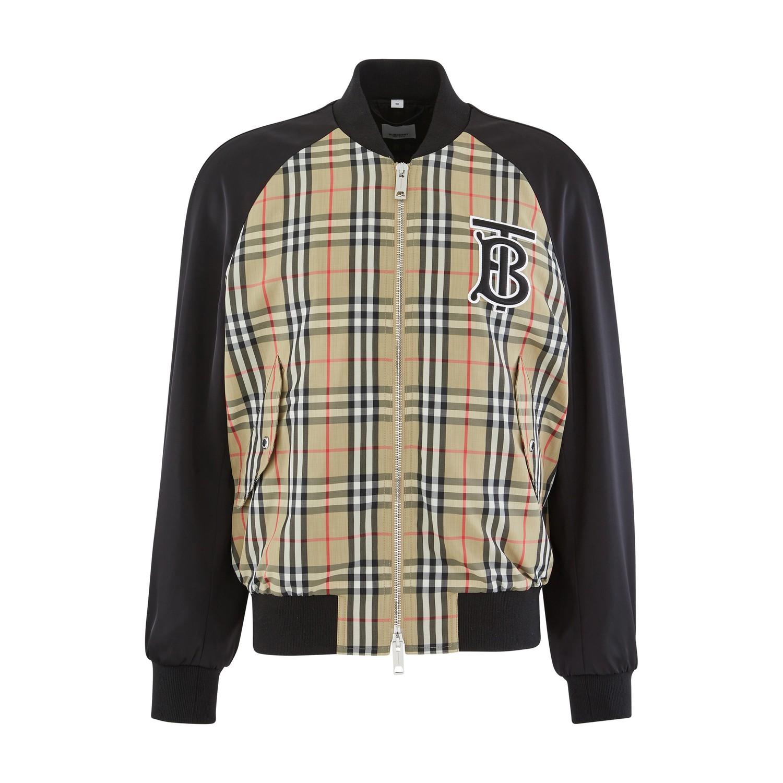 Burberry Monogram Motif Vintage Check Nylon Bomber Jacket In Archive Beige