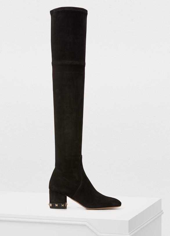 Valentino Valentino Gavarani studded heel thigh-high boots 417411a4c9