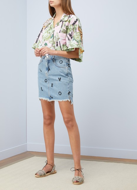 Current Elliott High-waisted printed denim skirt