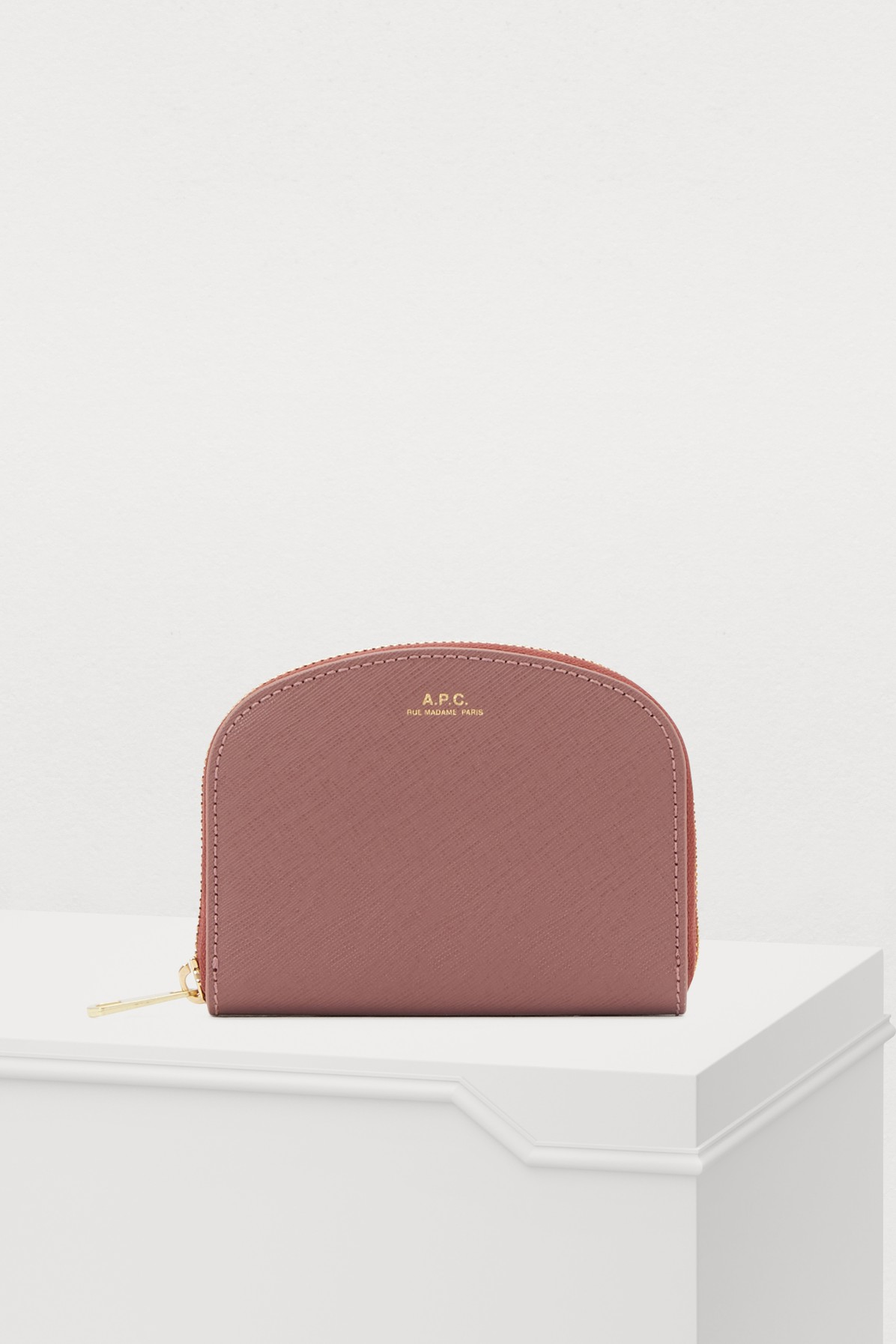 Half-Moon Saffiano Leather Wallet in Light Pink