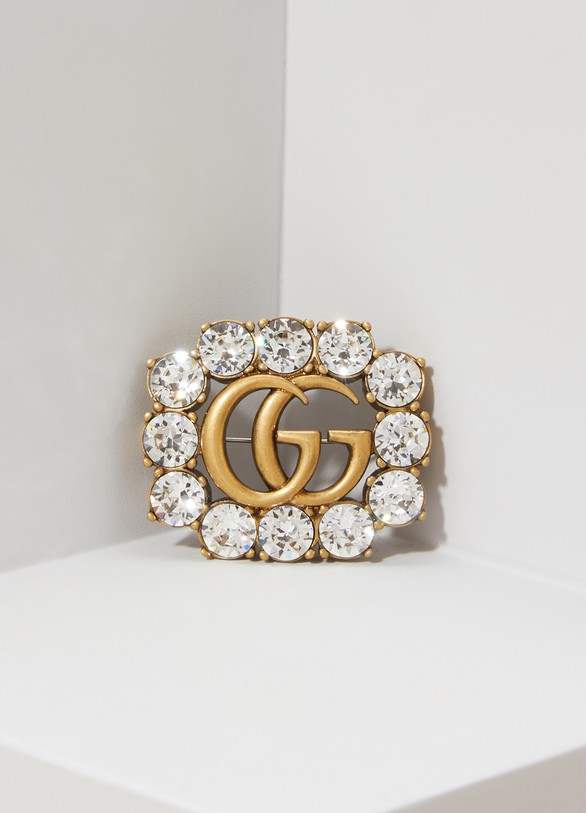 Gucci Double G metal brooch with crystals