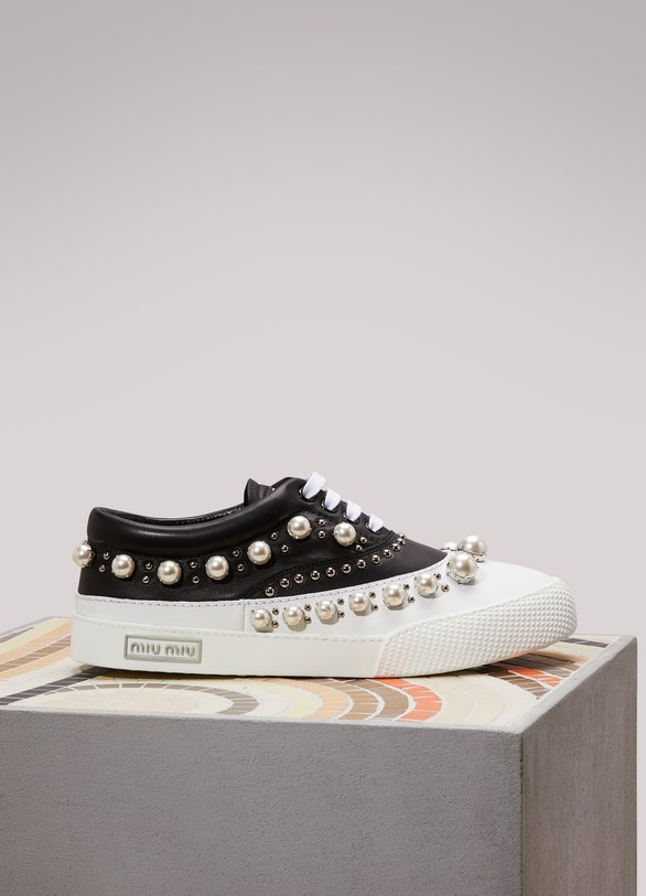 Miu Miu Bi-Color Leather Sneakers