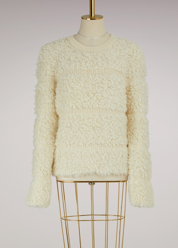CarvenStriped Bouclé Knitted Sweater