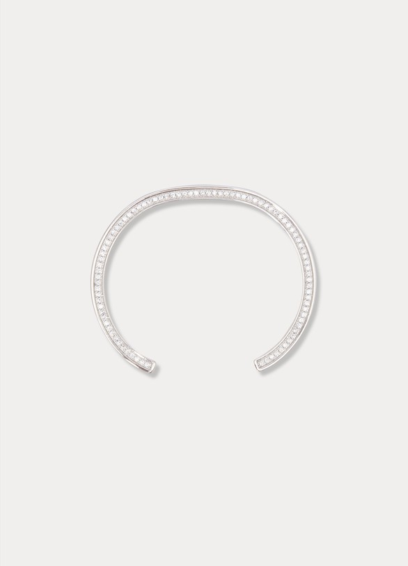 Celine Edwige small bracelet in brass with rhodium finish and crystals