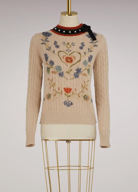 Red ValentinoPull en laine à fleurs