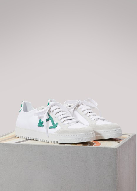 Off White Canvas logo sneakers