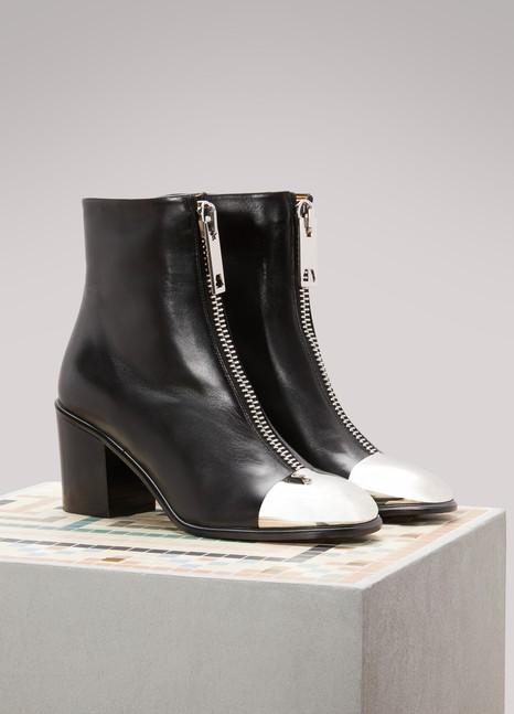 Proenza SchoulerSilver Cap Toe Leather Ankle Boots