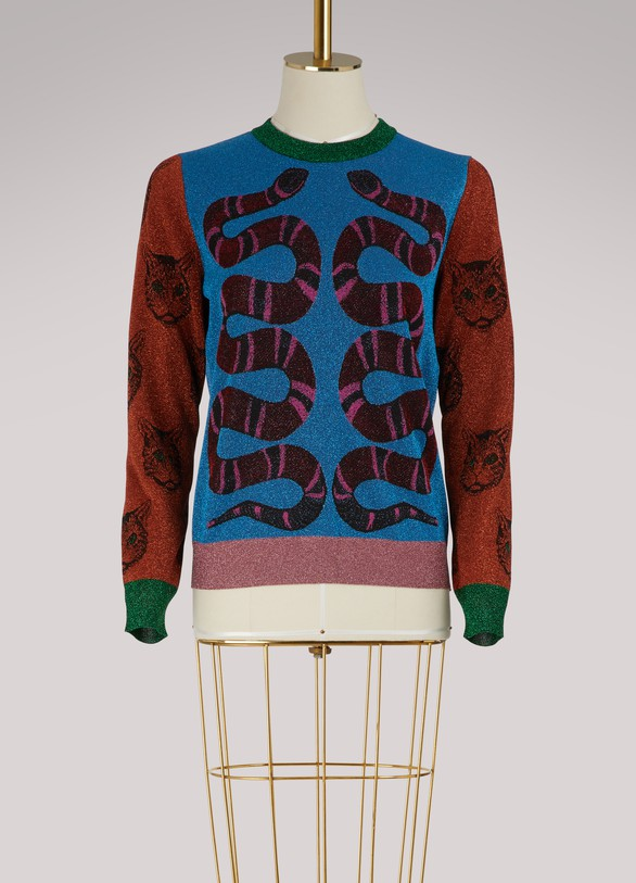 Gucci Pull en lurex Snakes