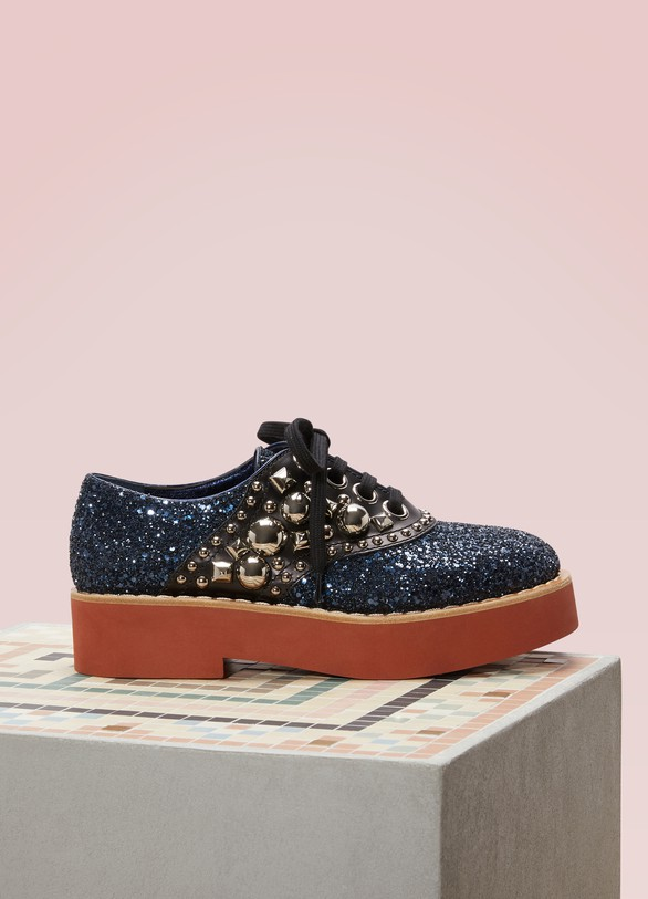 Miu Miu Sequined Leather Derby Shoes
