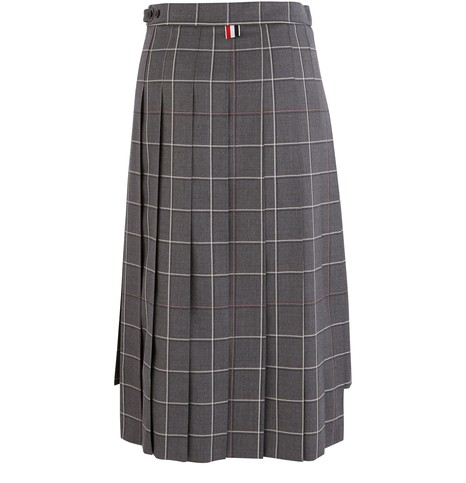 THOM BROWNE Pleated wool skirt