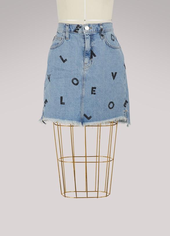 Current ElliottHigh-waisted printed denim skirt