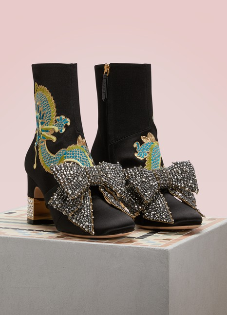 GUCCI Satin Dragon Ankle Boots