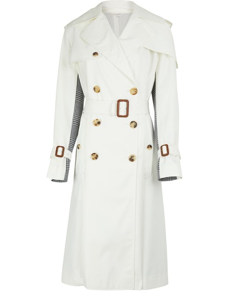 Alexander Mcqueen Belted Cotton-Gabardine And Houndstooth Wool Trench Coat In Light Beige