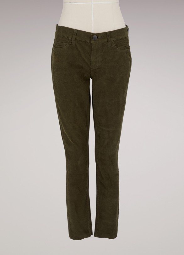 Current Elliott Stiletto velvet cropped jeans