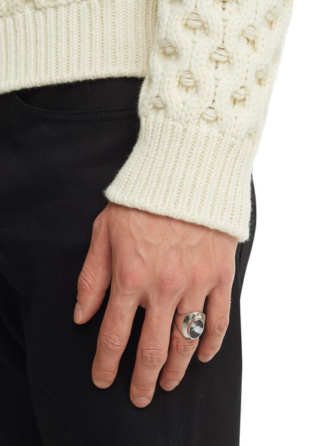 CELINECeline Heritage oval marble and solid silver ring