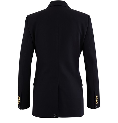 CELINE Long woollen diagnonal double-breasted blazer