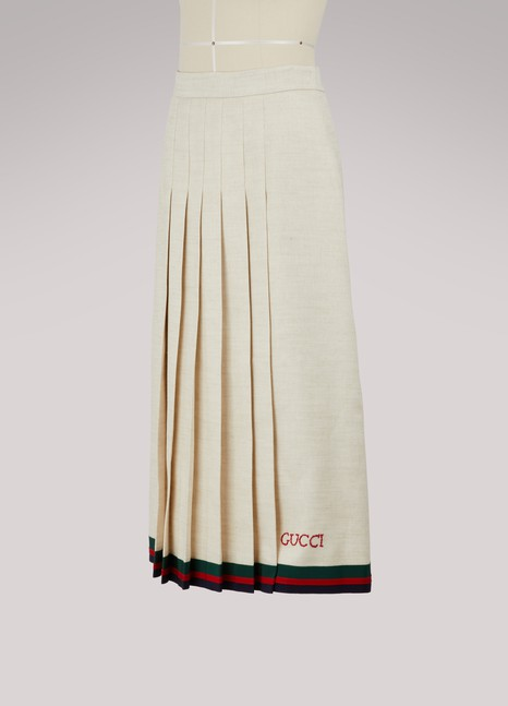 Gucci Pleated linen skirt