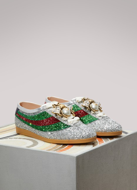 GUCCI Baskets à paillettes Bee GG Pearls