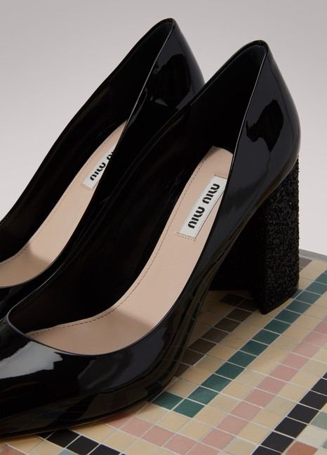 e214ed6af31a Miu Miu Leather Pumps With Glitter Heels