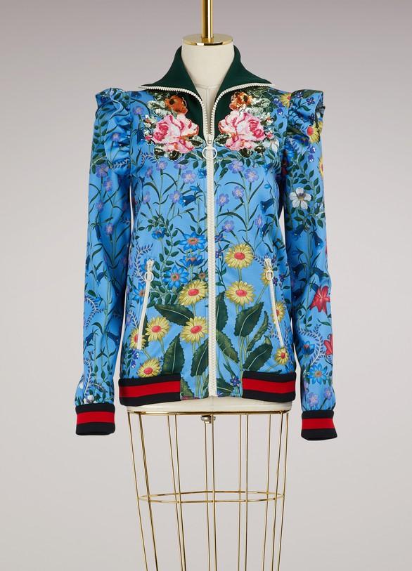 GUCCIVeste en jersey brodée à imprimé nouveau flora