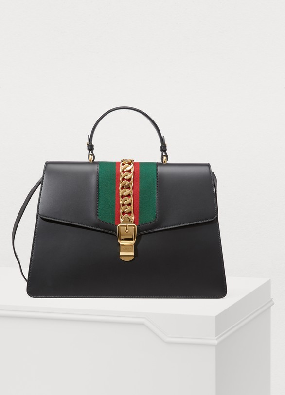 Gucci Sylvie Leather Maxi Top-Handle Bag