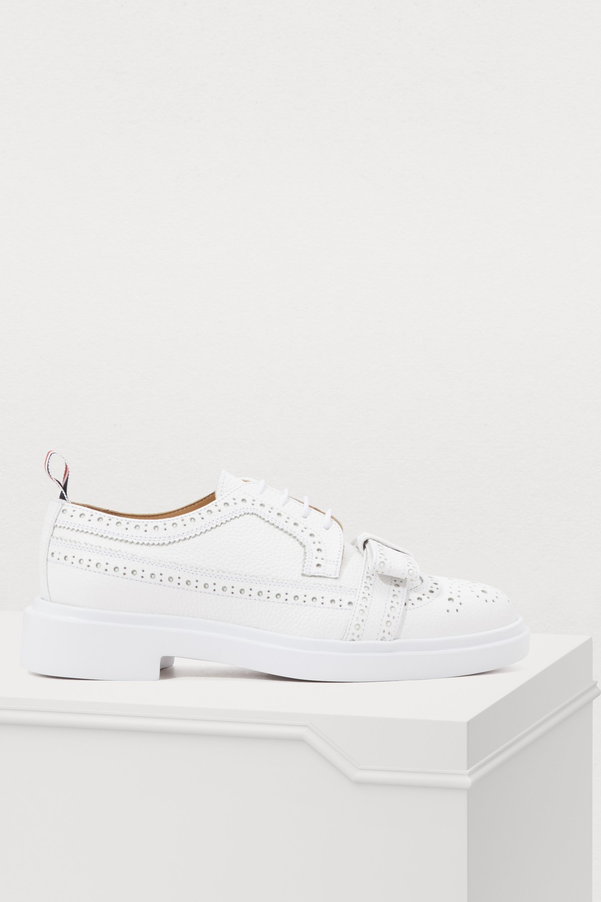 'Brogued Trainer' Leather Shoes in White from Glamest