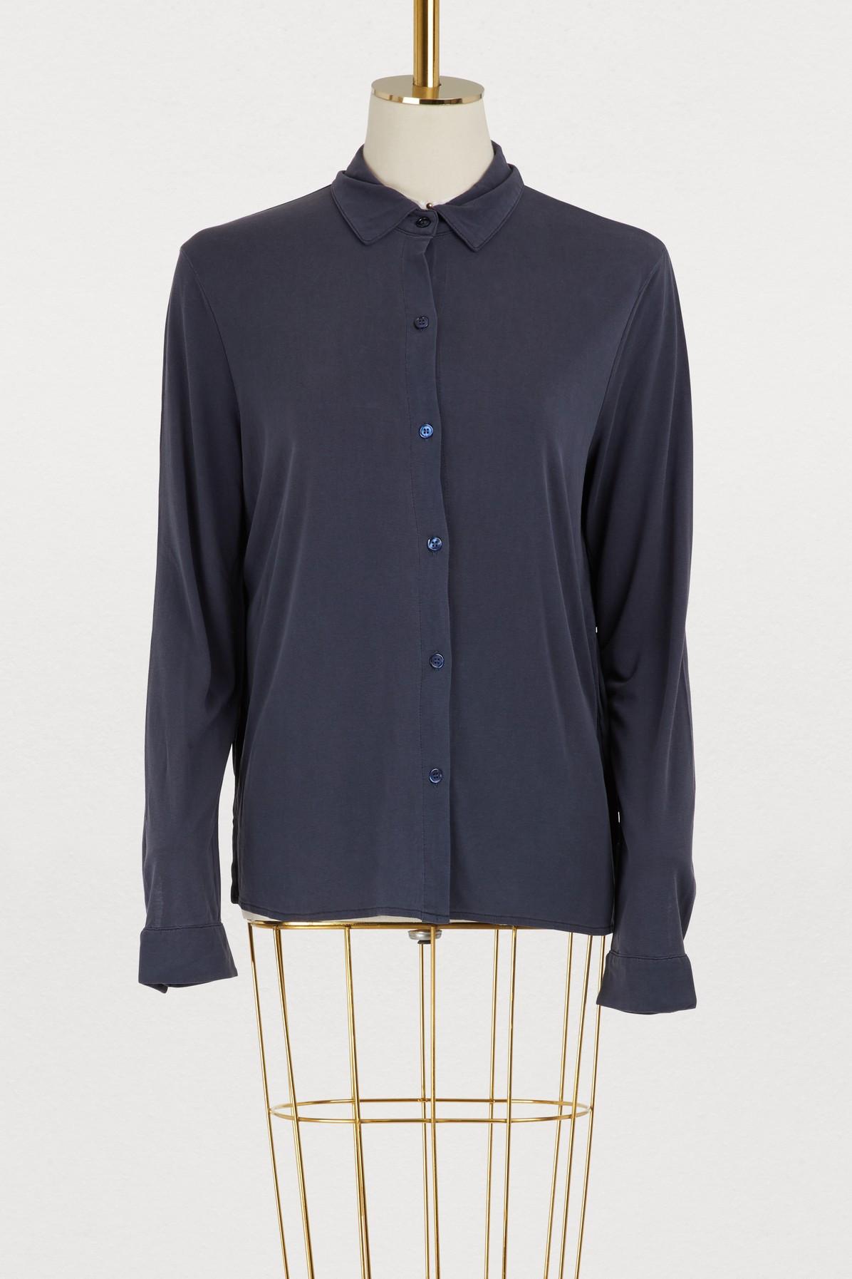 Chemise en soie à pli creux manches longues