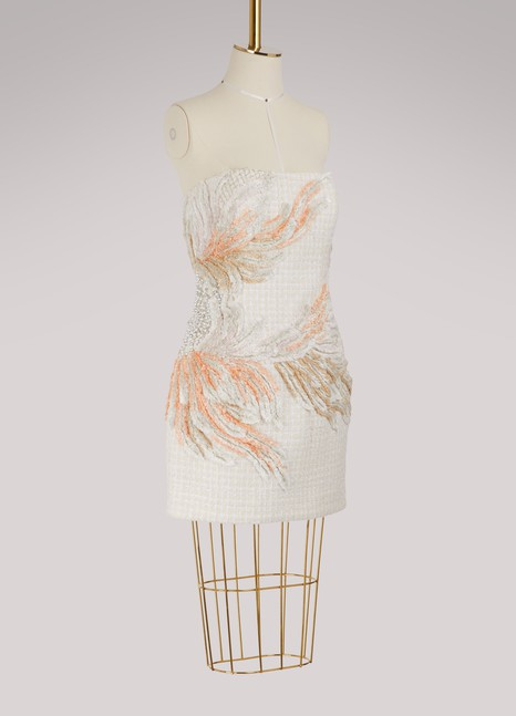 Balmain Embroidered strapless dress