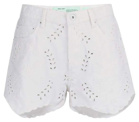 OFF-WHITE Embroidered denim shorts