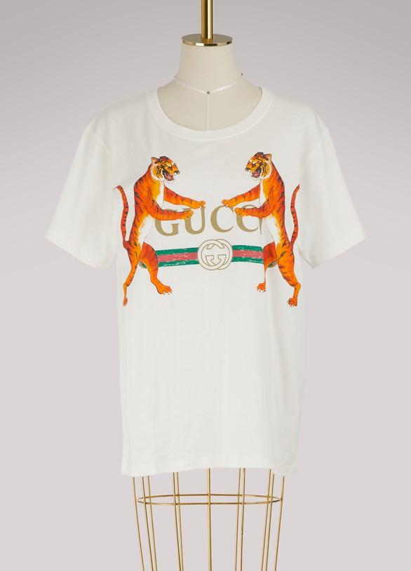 GucciT-shirt à logo Gucci et tigres