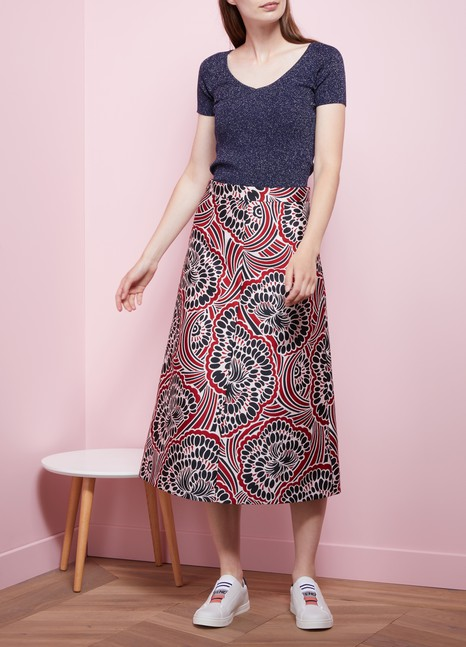 Red Valentino Long Brocard Skirt