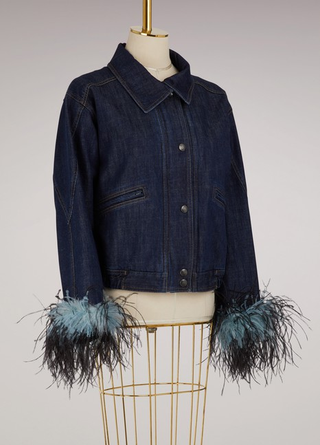 PradaVeste en jean à plumes