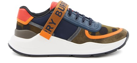 Burberry Logo Detail Leopard Print And Leather Sneakers In Blue