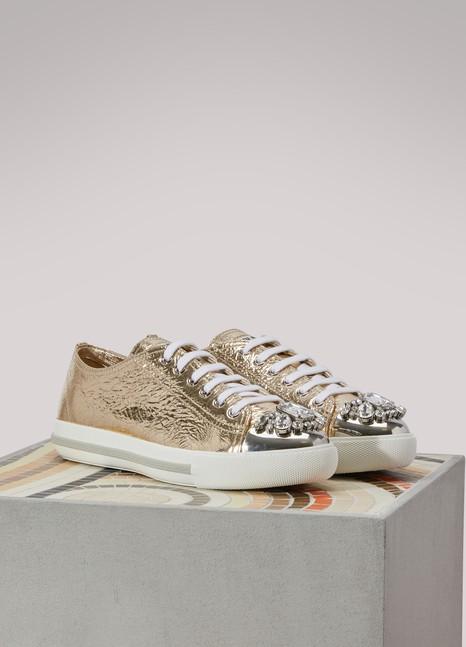 Miu MiuGold Leather Sneakers