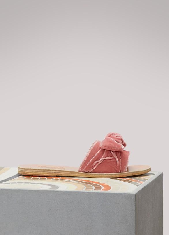En Femme Bow Taygete Greek Ancient 24 Sandals Sandales Velours SEfBqqw