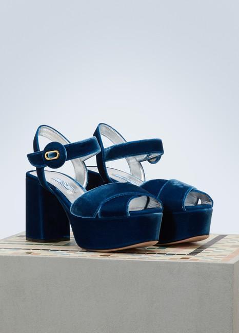 PradaVelvet platform sandals
