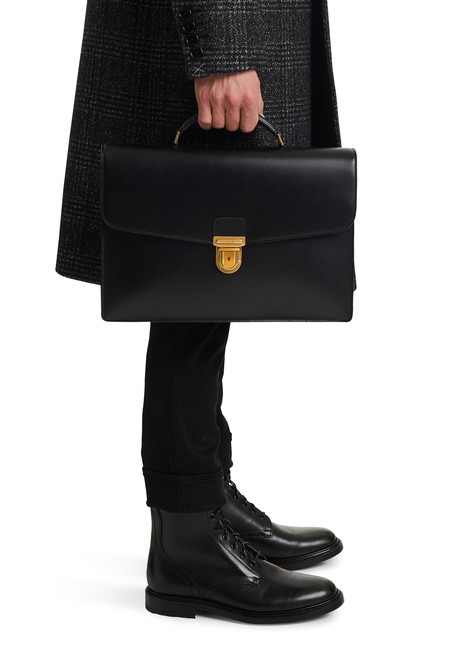 CELINEMedium-sized box calf satchel