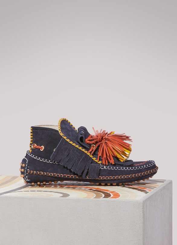 CarvenLeather loafers with pompoms
