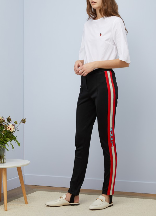 0c497bddf4e ... Gucci Technical jersey stirrup legging with crystals ...