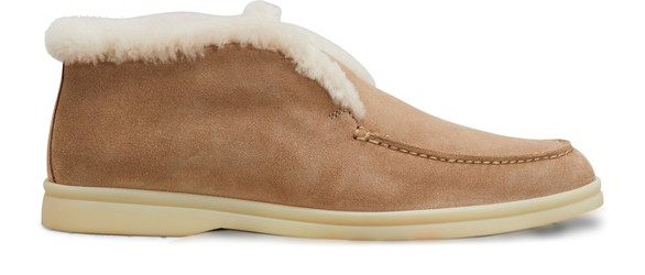 LORO PIANA Furry Suede Leather Slippers